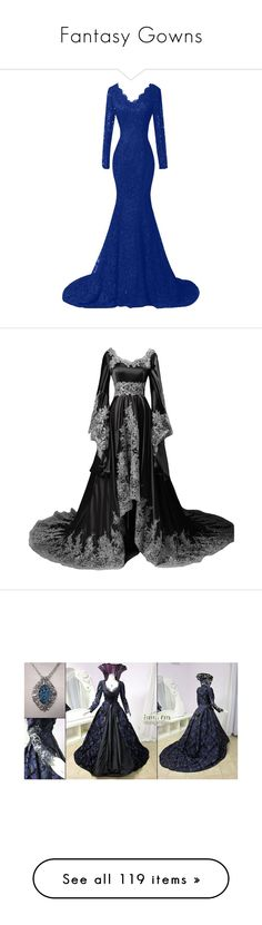 """""""Fantasy Gowns"""" by le-piano-argent ❤ liked on Polyvore featuring dresses, gowns, long evening dresses, plus size special occasion dresses, evening dresses, plus size cocktail dresses, long sleeve evening dresses, vintage formal dresses, vintage dresses and vintage formal gowns"""