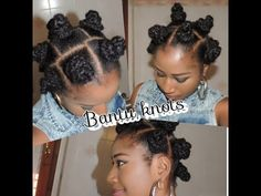 BANTU KNOTS ON NATURAL 4C HAIR WITH EXTENSION . - YouTube