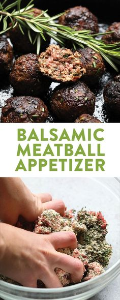 Rosemary Thyme Balsamic Meatball Appetizer Recipe - Fit Foodie Finds
