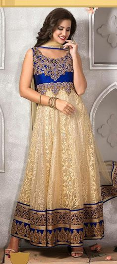 425465, Anarkali Suits, Net, Machine Embroidery, Stone, Zari, Border, Thread, Beige and Brown Color Family