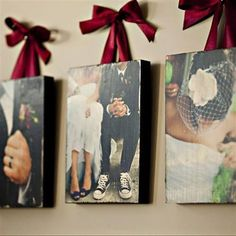 Photo: Just print off any picture you want, then spray paint a piece of wood black, cut the picture to match the size of the wood. Using Mod podge coat the wood then lay the picture on top. Once it has dried thoroughly, use sandpaper to rough up the edges, then put a layer of mod podge over the picture. paint some eye hooks and use pretty ribbon as a hanger and voila!