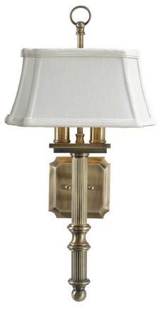 """House of Troy - WL616-AB Direct Wire Wall Mount.  In antique brass with off-white shantung shade. 19""""H; 4.2"""" backplate; 7.25"""" x 9.25"""" x 4.5"""" shade.  $229 retail."""