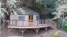 How to Add a Porch, Deck or Awning to Your Yurt - Pacific Yurts Pacific Yurts, Building A Yurt, Deck Awnings, Yurt Home, Yurt Living, Deck Makeover, Wrap Around Deck, Dream Properties, Decks And Porches