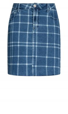 Shop Women's Plus Size Check Me Skirt - denim - Street Style - Collections City Chic Online, Fashion Addict, Blue Denim, Denim Skirt, Plus Size Fashion, Style Fashion, Streetwear, Casual Shorts, Curves