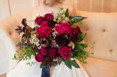 Kari Young Floral Designs Protea and Peony Raspberry Wedding