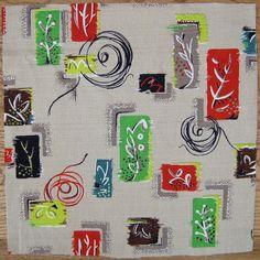 atomic barkcloth fabric   Vintage Barkcloth Fabric - 50s Atomic Eames Era Botanical unused