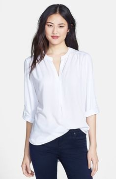 Pleione Mixed Media Tunic | Nordstrom. I love this shirt. It can be dressed up or down, depending on your pants and jewelry. It's incredibly soft with beautiful lines. Very classy. Go with white.