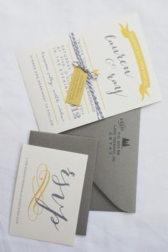 Grey and Yellow Wedding Invitation.nicely fits in the Heirloom Theme Wedding Boxes, Wedding Paper, Wedding Cards, Our Wedding, Dream Wedding, Wedding Ideas, Yellow Wedding Invitations, Wedding Invitation Suite, Wedding Stationary