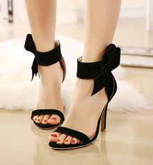 Sandalette mit Schleife besetzt-schwarz-Sheinside