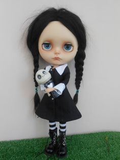 Custom Blythe Doll Wednesday Addams by Spookykidsworkshop on Etsy