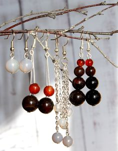 5 models of Agate earrings Crystal Gemstone Jewelry For Her, Mom Girlfriend Wife Sister Gift Semiprecious Stone natural gray black red Agate