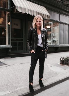 NILI LOTAN moto leather jacket / slouchy pants / tank top ISABEL MARANT dicker suede boots (or here) _____ _____ _____ _____ photography by MATT SCORTE _____ _____