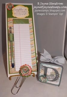 "Convention roommate gifts - altered file folder, matching pen, jumbo paper clip, and personalized mini frame.  This set was made with the ""This 'n That"" designer series paper."