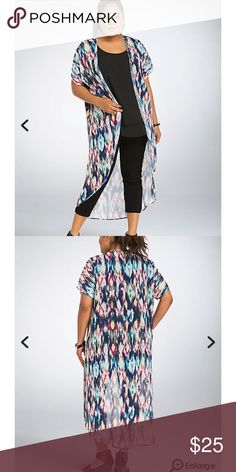 Torrid Multi Color Kimono Like new!! Only worn twice. I'm a size 3 in torrid but because of my arms I got a 4/5 (insight if you have bigger arms like me) I'm 5'7 and it comes to my ankles. Perfect for a swimsuit cover!! Tops