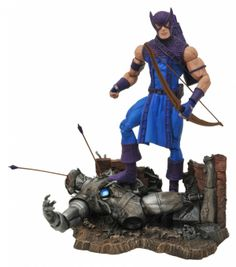 """Marvel Select Figure - Classic Hawkeye. Coming from DST. It's The Marvel Select Figure - Classic Hawkeye. The eagle-eyed Avenger Avenger has returned to the Marvel Select line in his classic incarnation, as a fully articulated 7"""" action figure with 16 points of articulation! This comic-based Hawkeye figure includes his bow, multiple arrows (including one with the Wasp perched on it) and a detailed display base featuring the fallen form of Ultron. All are packed in the famous Marvel…"""