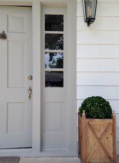 Dorian Gray front door or colonial revival; alabaster exterior wall color