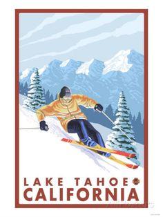 Downhhill Snow Skier, Lake Tahoe, California Reproduction d'art