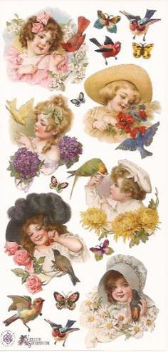 Kinderen met vogels poezieplaatjes Stickers P19