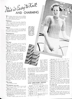 Free Vintage Knitting Pattern: Easy to Knit and Charming thirties ladies top
