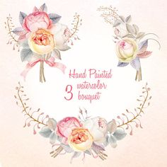 This set of high quality Hand painted Flower Clipart Watercolour - Vintage Rouse Floral arrangement and 3 Romantic bouquets. Can be used for: – printed paper stationery (wrapping paper, packaging, Wedding Invitations, Greeting cards, labels) – digital or paper scrapbooking – home