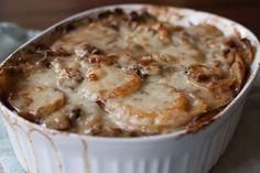 Potato gratin with Mushroom and Gruyere
