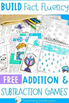 Addition and subtraction worksheets for 1st and 2nd grade can be made fun by turning them into math games. Perfect for students to play in pairs or alone, these 12 free printables with help your students develop fact fluency with their number facts.