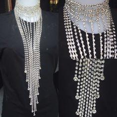 #collana #lunga in #cristallo #rhinestone con #collare. #fattaamano.  #long #crystal #necklace with #collar. #handmade.  #largo #collar en #cristal con #colar. #hechoamano.  www.oro18.eu info@oro18.eu