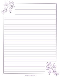 Unicorn Stationery and Writing Paper DIY Paper Lanterns Paper lanterns come in diverse sizes and sty Unicorn Stationary, Printable Lined Paper, Free Printable Stationery, Lined Writing Paper, Pretty Writing, Unicorn Printables, Paper Frames, Stationery Paper, Note Paper