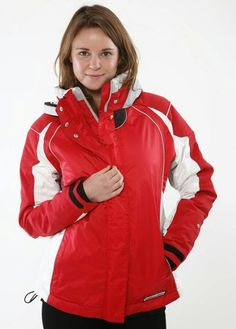 Zoey in red with white underarms & torsos on her jacket.