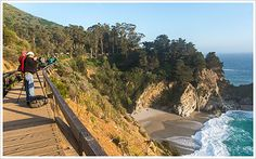 Place to Visit: Julia Pfeiffer Burns State Park - Hoping there is an area of trail that with a telephoto lens I can get a close up of that waterfall down there. The beaches are off limits because of the dangers in getting to and from them, but a good camera may be able to get there without legging it.