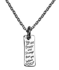 Loving this 'Braver And Stronger' Bar Pendant Necklace on #zulily! #zulilyfinds