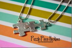 Puzzle PIece Necklace at thatswhatchesaid.net THIS IS SO COOL! You could even do 4 pieces for four friends or something!
