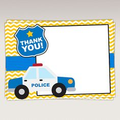 Police Thank You Card Thank you Favor tags Note Card by PNArt