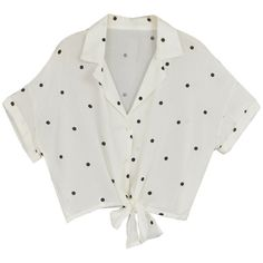 White Polka Dot Crop Shirt ($28) ❤ liked on Polyvore featuring tops, shirts, clothing - ss tops, shirt top, dot print shirt, spotted shirt, dotted shirts and shirt crop top