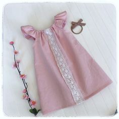 Girls linen pink dress, pink linen dress, baby pink linen dress, baby boho pink dress, girls boho pink linen dress, girls linen dress