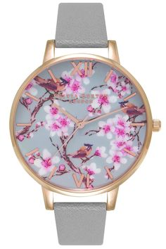 Painterly Prints Blossom Birds Gray and Rose Gold