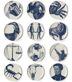 Zodiac melamine coasters, set of 12 (Thomas Paul) 12 Zodiac, Zodiac Signs, Paul Design, Zodiac Symbols, Capricorn, Plates On Wall, Coaster Set, Ceramic Pottery, Dibujo