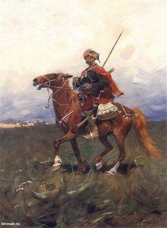 """The Zaporozhye knight"". Artist Józef Brandt / ""Запорожский лыцарь"". Художник Йозеф Брандт."