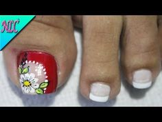 DISEÑO DE UÑAS PARA PIES FLOR EN BLANCO Y ROJO - FLOWERS NAIL ART - NLC - YouTube Cute Pedicures, Pedicure Nails, Manicure, Pretty Toe Nails, Pretty Toes, Cute Animal Photos, Toe Nail Designs, Lily, Pattern