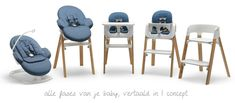 Nieuw van Stokke, de Stokke Steps. Een kinderstoel en wippertje die je ook in combinatie kunt gebruiken. Ideaal voor pasgeborene en kleuters!