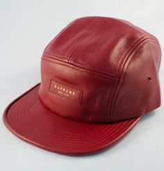 Supreme Leather Camp Cap  · Red