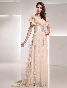 Elegant Champagne Chiffon Lace V-Neck Fashion Evening Dress - Milanoo.com