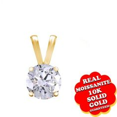 """1/2 Ct Or 1/2 Ct Real Moissanite 10K Gold Solitaire Pendant Without Chain """"Mother\'s Day Gift"""". Starting at $99"""