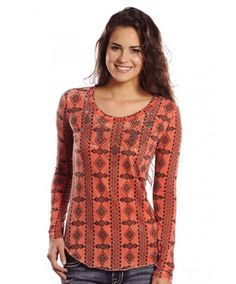 Rock & Roll Cowgirl Allover Aztec Print Coral Long Sleeve T-Shirt