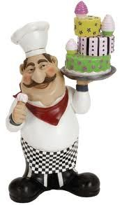 chef with cake ceramic