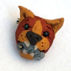 Handmade Cat Brooch Handmade OOAK Polymer Clay by creationsbyjdb, $8.00