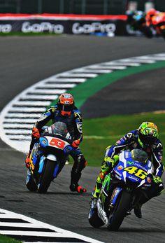 Valentino Rossi Yamaha #46 and Tito Rabat Honda #53  GP Silverstone