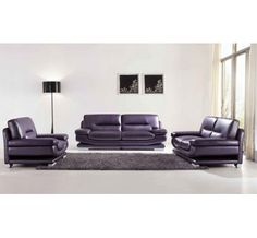 ESF Sofa : This modern living room sofa has a quiet modern appeal which will easily blend with any contemporary home setting. Decorative stitching accent adorn every piece of this sofa. Living Room Sets, Living Room Modern, Living Room Furniture, Furniture Sets, Purple Furniture, Studio Furniture, Italian Leather Sofa, Leather Sofa Set, Leather Furniture