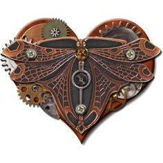 KMRD-Steampunk-heart-dragonfly.png ❤ liked on Polyvore featuring steampunk, filler and steam punk