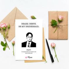 wedding proposal funny Funny Dwight Schrute, The Office Bridesmaid Proposal Card, Will you be my maid of honor, be my bridesmaid, Funny Bridesmaids Proposal Card by CoupeDePapier on Etsy Funny Bridesmaids, Be My Bridesmaid, Wedding Bridesmaids, Funny Bridesmaid Pictures, Wedding Dresses, Bridesmaid Boxes, Bridesmaid Dresses, The Office Wedding, Trendy Wedding